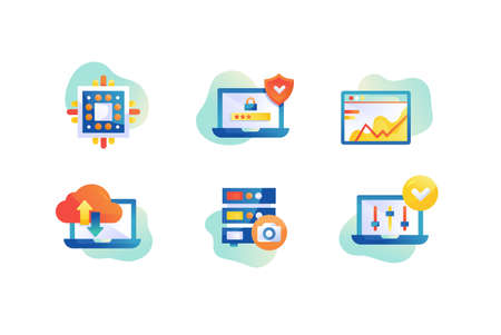 Flat web hosting icon set with server protect, laptop, cloud technology. Concept collection modern symbols for CPU, internet, ad, web. Pixel perfect. Vector illustration. Ilustração