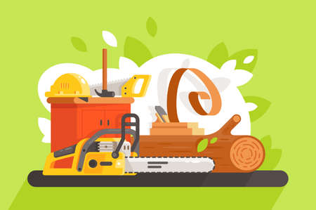 Flat building tool with chainsaw, saw, bar, hammer and hard hat. Concept work equipment, wood processing. Vector illustration.