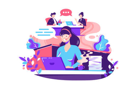 Flat young woman employee calls within office. Concept businessman and businesswoman characters at work, staff relationship. Vector illustration.