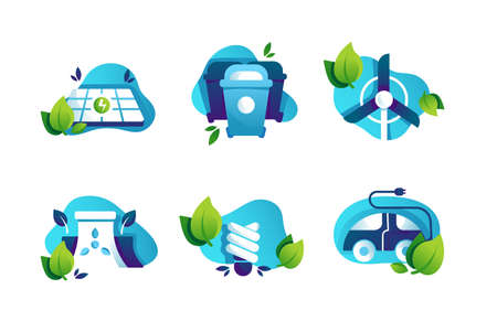 Set icons with safe planet, solar panels, energy-saving lamp, electric car, trash can. 向量圖像