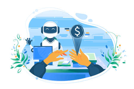 Flat man hand with electronic money opposite cashier s robot helps pay. Concept character with support technology, future device and shopping. Vector illustration. Illusztráció