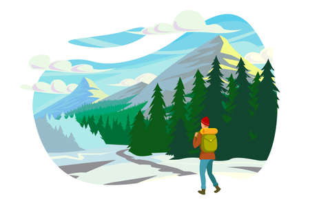 Flat young man with winter clothes and backpack in trip to mountains. Concept character with equipment near forest, river and snow, tourist leisure. Vector illustration. Illustration