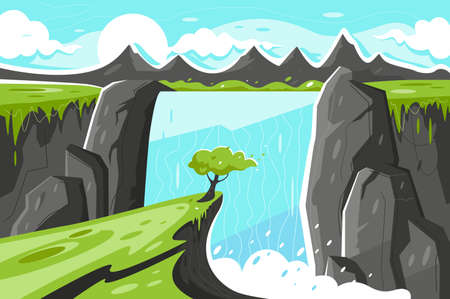 Flat waterfall with tree on green plain and mountain background. Concept beauty of wildlife, primeval landscape of nature. Vector illustration.