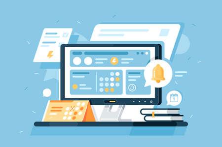 3D isometrische Zeitplanausrüstung mit Kalender, Computer-App, Notizblock, Alarm. Konzeptwerkzeuge für die Unternehmensführung auf blauem Hintergrund. Niedrige Poly. Vektor-Illustration. Vektorgrafik