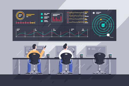 Impiegato piatto di giovani uomini con schermi con grafici al centro di controllo.