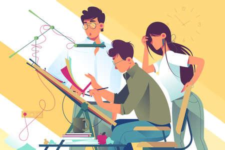 Flaches Team der jungen Frau und des Mannes bei der Arbeit an Designprojekt. Konzeptgeschäftsmann- und -geschäftsfrauangestelltencharaktere mit Berufsausrüstung. Vektor-Illustration. Vektorgrafik
