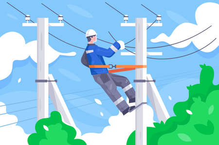 Flat young man employee with power lines repair. Concept electrician character at work, person at the height. Vector illustration. Vector Illustration