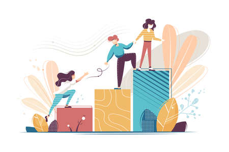 Flat young woman and man helping and growing together. Concept businessman and businesswoman characters relationship, extending a helping hand to colleague. Vector illustration.