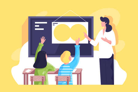 Flat classroom with young woman teacher and schoolchildren hand up. Concept businesswoman and students characters at work, school relationship. Vector illustration.