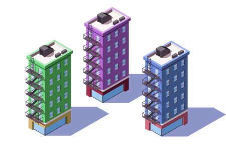 3d isometric mid-rise house with mini market on first floor. 矢量图像