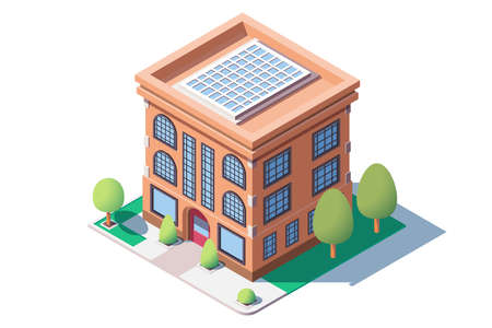 City mid rise building vector illustration. Solar panels provide modern high-tech house with energy harmless to nature. Eco home technology concept isometric 3d style Illustration