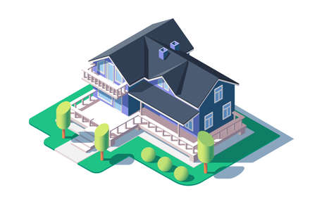 Modern private house vector illustration. Building with beautiful garden trees and bushes. Luxurious and comfortable home with great veranda isometric 3d style Illustration