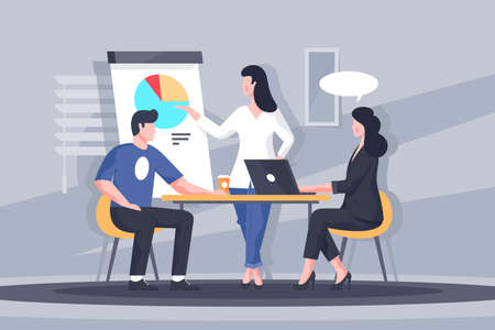 Important business discussion vector illustration. Smart colleagues participating in intense brainstorming process. Woman making biz presentation of new start-up flat style design. Meeting concept
