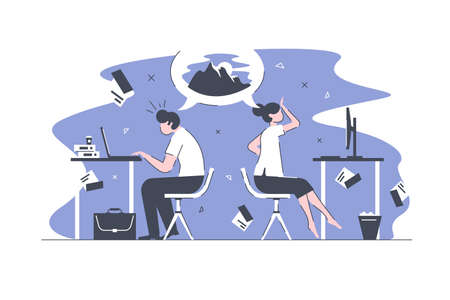 Smart office workers vector illustration. Overworked business people sitting in modern bureau and dream for vacation on top of tourist mountains to slide down with skis flat style concept