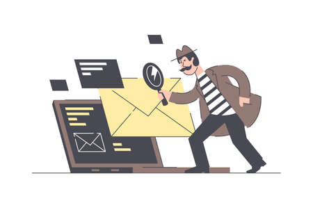 Email search vector illustration. Male holding magnifier and looking at postal envelope. Man with moustache wearing detective hat, coat and standing near big laptop flat style concept