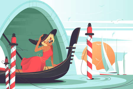 Beautiful Italian canal vector illustration. Pretty woman sailing in big gondola in wonderful Venice. Attractive lady performing tourist trip in red dress flat style design. Travelling concept Ilustração