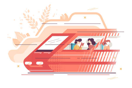 People travelling by train vector illustration. People using high-speed vehicle get to place in time. Women enjoy service and comfortable seats flat style design. Railway technology concept