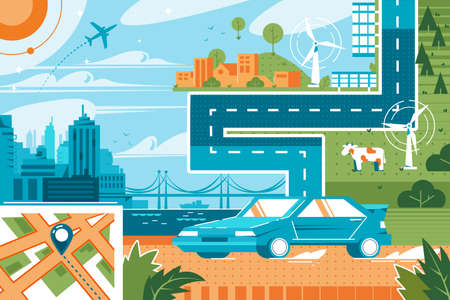 Modern city landscape vector illustration. Geo map with blue location pin helping people find way to destination in time flat style concept. Cityscape airport grassland on background
