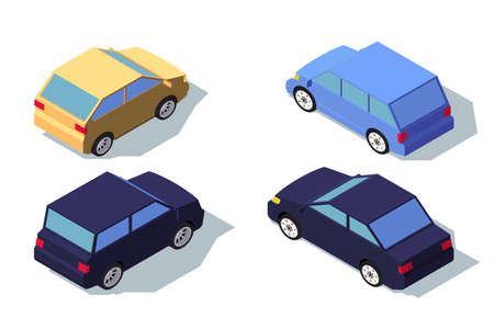Isometric 3d back view blue and yellow classic sedan car. Concept isolated vehicle, automobile, middle class machine. Low poly. Vector illustration.