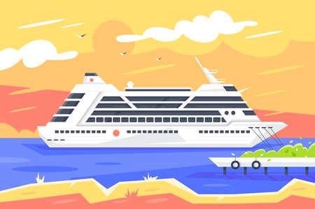 Flat cruise ship for sea travel and passenger transportation. Banco de Imagens