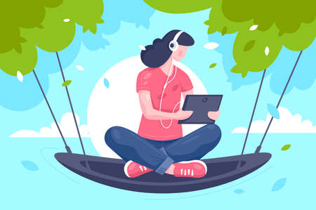 Flat young girl with tablet, headphones at hammock on tree. Reklamní fotografie