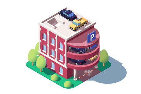 3d isometric cars using multi level parking.