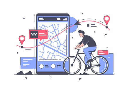 Flat man with bicycle and way on mobile phone map.