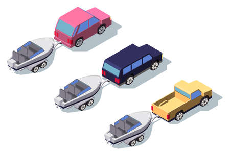 Isometric 3d back view classic pickup truck car with boat.