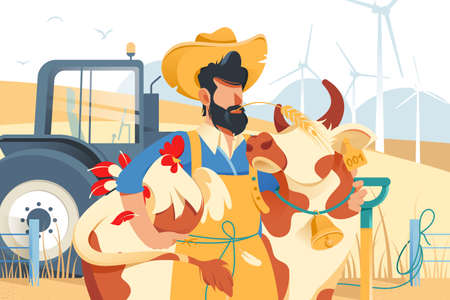 Handsome man with beard, cow and chicken at farm.