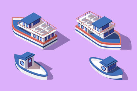 3d isometric big and small boat and barge. Stockfoto