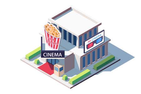 3d isometric public cinema building with popcorn. Illustration
