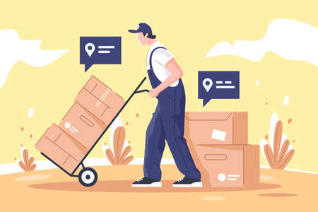 Man cargo delivers goods and boxes using points on map.