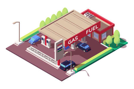Gas station with sedan and classic car, parking.