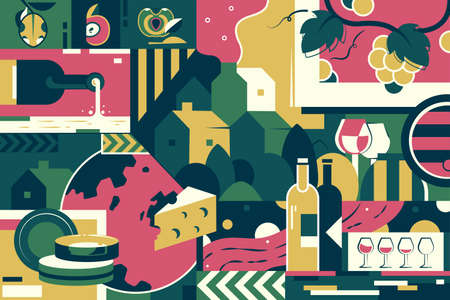 Background of winemaking, cheese and grape.