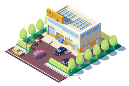 3d isometric modern car auto service with parking.
