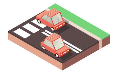 Red cars traveling along road, highway.