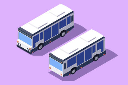 Set front and back view bus for transportation of people.