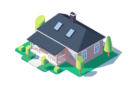 3d isometric large cozy one story house with green tree. Фото со стока