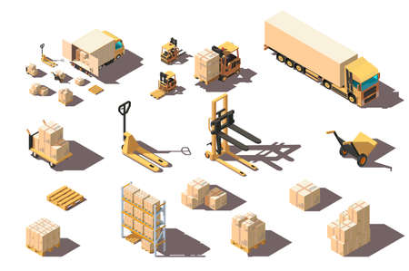 Isometric 3d set big and small shipment truck with forklift and box for delivery moving. Stock Photo