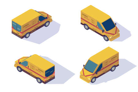 Set mail car for delivery of mail and parcels, package. Stock Photo