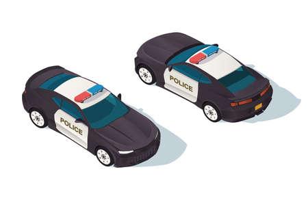 Urban modern sedan police car for protection of people.
