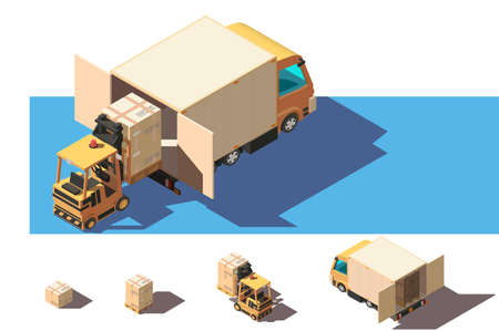 Isometric 3d set shipment truck with forklift and box for delivery moving. Stock Photo