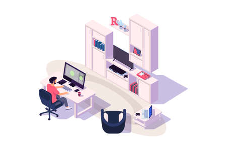 Isometric 3d cozy workplace with businessman at work with computer, tv and device. Stock Photo