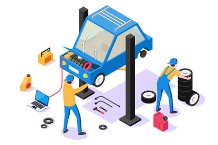 3d isometric man with repair equipment on car service. Stok Fotoğraf