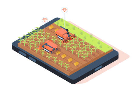 3d isometric smart farming with remote controle. Stock Photo