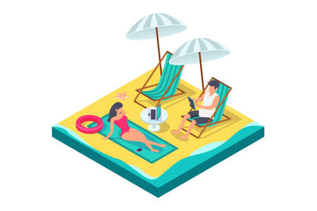 3d isometric man and woman couple with equipment on beach. Imagens
