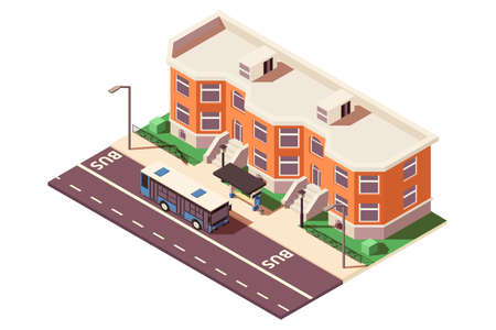3d isometric bus stop in city near building and road. 写真素材