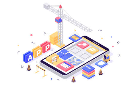 3d isometric build mobile application with search, message, setting, book icons, crane, forklift.