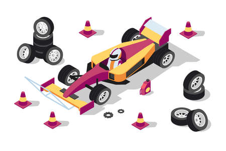 3d isometric sport car at pit stop with wheels, cones and gear. Stok Fotoğraf