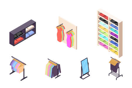 Isometric 3d collection isolated urban element of clothing store. Banco de Imagens